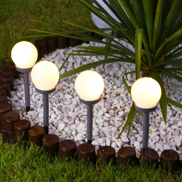 LED Solar Wegeleuchten - milchige Solarkugel - Erdspieß - warmweiße LED - H: 27cm - 4er Set