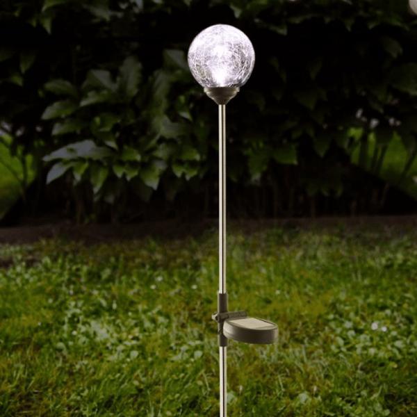 """LED Solarkugel """"Roma""""- Edelstahl - klares Glas - warmweiße LED"""