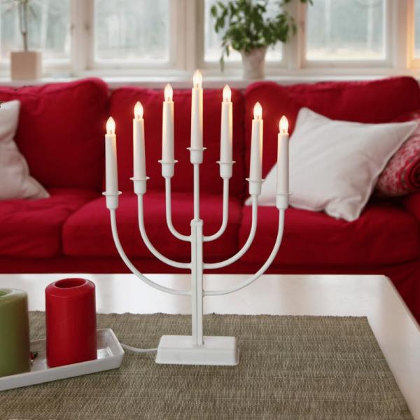 Kerzenleuchter KRISTINA - 7 Arme - warmweiße Lampen - H: 47cm - Schalter - Weiß