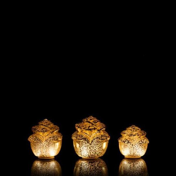 LED Dekoleuchte Rose - Timer - 3er Set - Silber