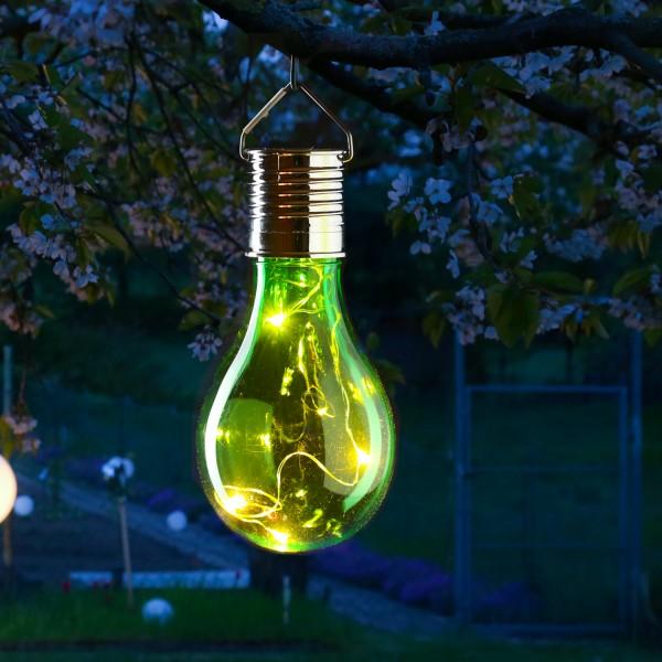 LED Solar Glühbirne GLOW - warmweiße LED Drahtlichterkette - H: 14cm - Lichtsensor - outdoor - grün