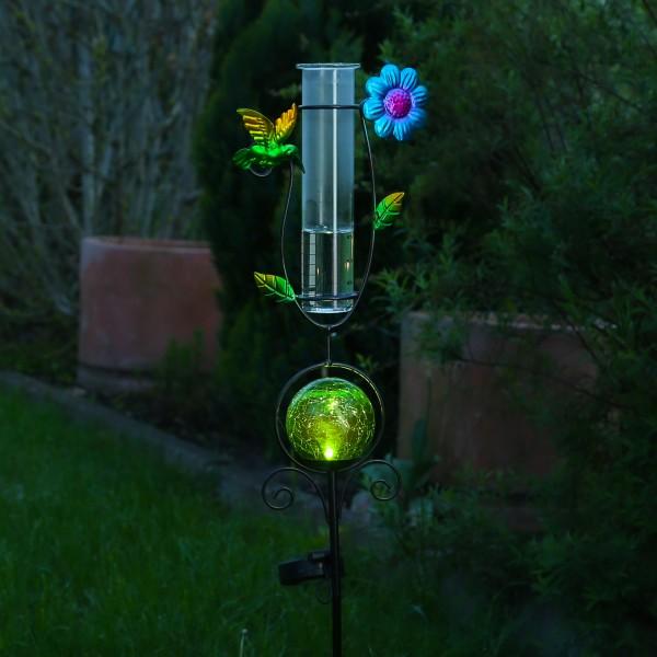 LED Solarstecker KOLIBRI - mit Regenmesser - H: 93cm - grüne Kugel