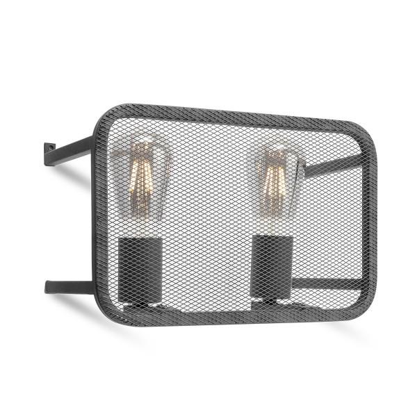 Moderne Wandlampe WEAVE schwarz - für 2 Filament LED Leuchtmittel - 30cm x 20cm - E27
