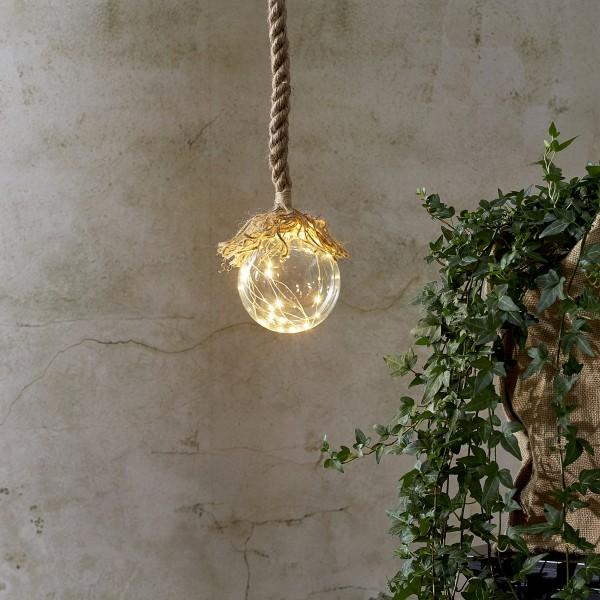 "LED Glaskugel ""Jutta"" - mit Juteseil - 15 warmweiße LED am Draht - L: 140cm - D: 10cm - klar"