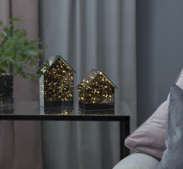 "LED Glashaus ""Mirror House"" - 15 warmweiße LED - H: 14,5cm B: 14cm - Batteriebetrieb - Timer"