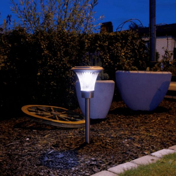 LED Solar Wegleuchte Savona - Edelstahl - 6 weiße LED - 28lm - H: 48cm - Dämmerungsensor - silber