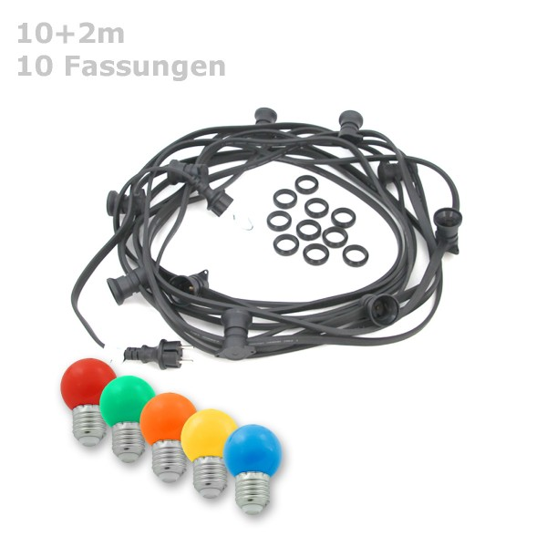 ILLU-Lichterkette BLACKY - 10m - 10xE27 | IP44 | mit bunten LED Kugellampen | SATISFIRE