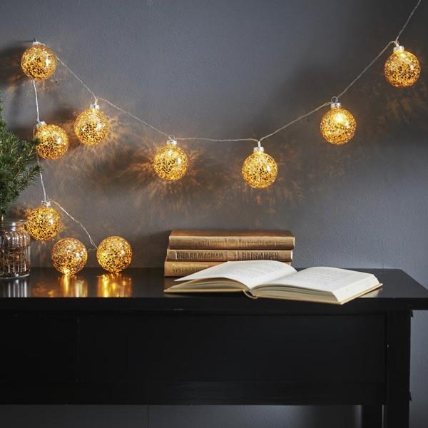 "LED Ball Lichterkette ""Glitter"" - 10 Kugeln (D: 6cm) - 1,3m - transparentes Kabel - Timer - gold"