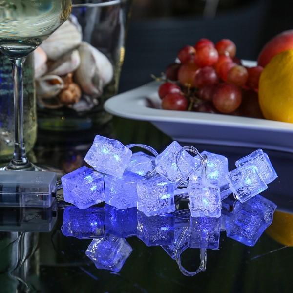 LED Lichterkette EISWÜRFEL - 10 blaue LED - Batteriebetrieb - L: 90cm - blau