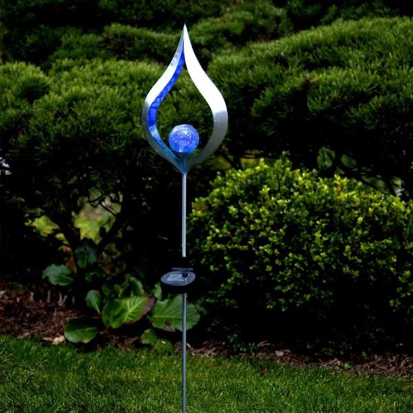 LED Solarstab FLAMME - silber - blaue LED - Glaskugel in Flamme - H: 86cm - Dämmerungssensor