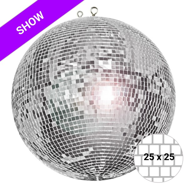 Spiegelkugel 120cm - silber - Diskokugel Echtglas - 25x25mm XL Spiegel - SHOW SERIE