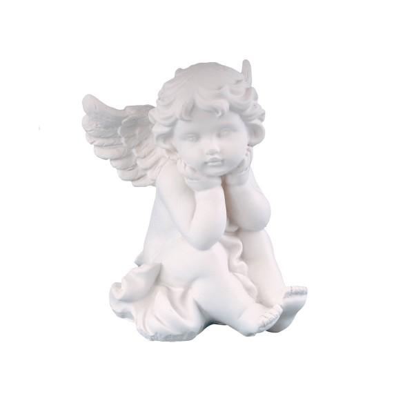 Engel sitzend, träumend - weiss - 11 x 10 x 8cm