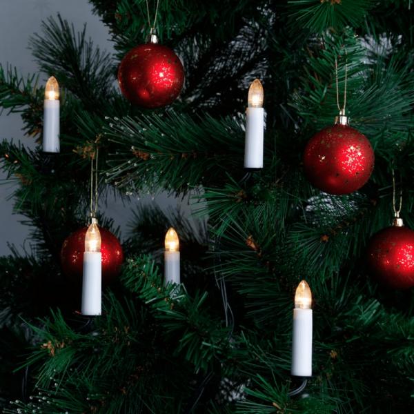 LED-Kerzenkette - 16 warmweiße LED - Indoor - Strang - H: 11cm, L: 10,5m - grünes Kabel - weiß