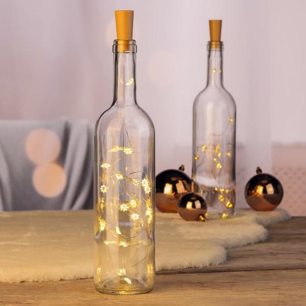 LED Drahtlichterkette Korken - Stern - Flaschenverschluss - 20 warmweiße LED - L: 1,0m  - gold