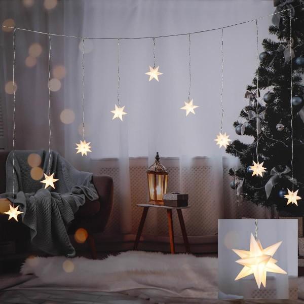 LED Lichtervorhang 3D Sterne - 9 weiße Sternen - warmweiße LED - 160 x 120cm