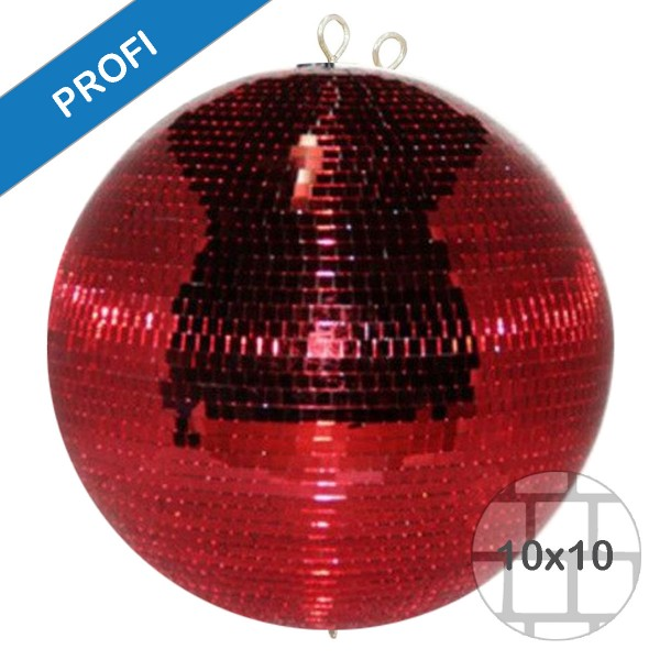 Spiegelkugel 120cm - rot - Diskokugel Echtglas - 10x10mm Spiegel - PROFI Serie