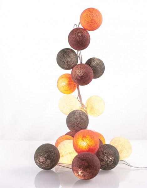 good moods* POWER PASTELS - Ball-Lichterkette mit 20 Stoffkugeln - 20 warmweiße LEDs -Geschenkkarton