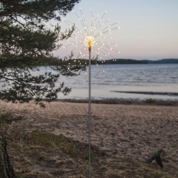 "LED Dekostab ""Firework"" - H: 110cm - 160 kleine daylight LED - inkl. Trafo - outdoor - silber"