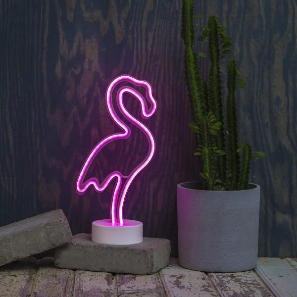 LED Neonlampe FLAMINGO - Silhouette Dekoleuchte - Batteriebetrieb - H: 31cm - stehend - pink