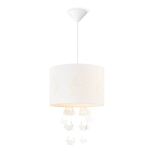 Lampenschirm Häschen - Farbe: Weiß - 30cm Durchmesser - mit fliegenden Häschen