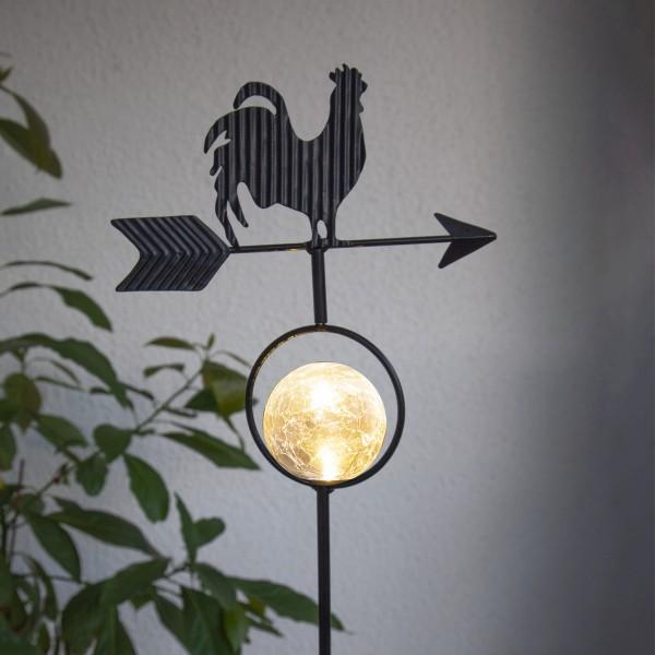 """LED Solarstab """"Hahn mit Windrichtungspfeil"""" - 1 warmweiße LED - H: 81cm - Dämmerungssensor - schwarz"""