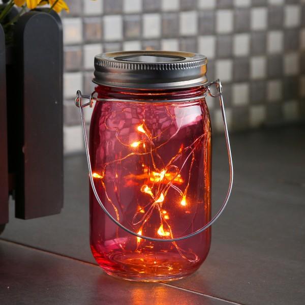 LED Solarglas - LED Drahtlichterkette - Lichtsensor - Aufhänger - H:14cm - D: 8cm - rosa