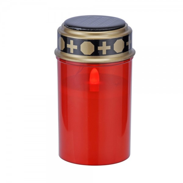 LED Grablicht rot, gelbe LED flackernd - Solarbetrieb - D: 7cm - H: 12,5cm