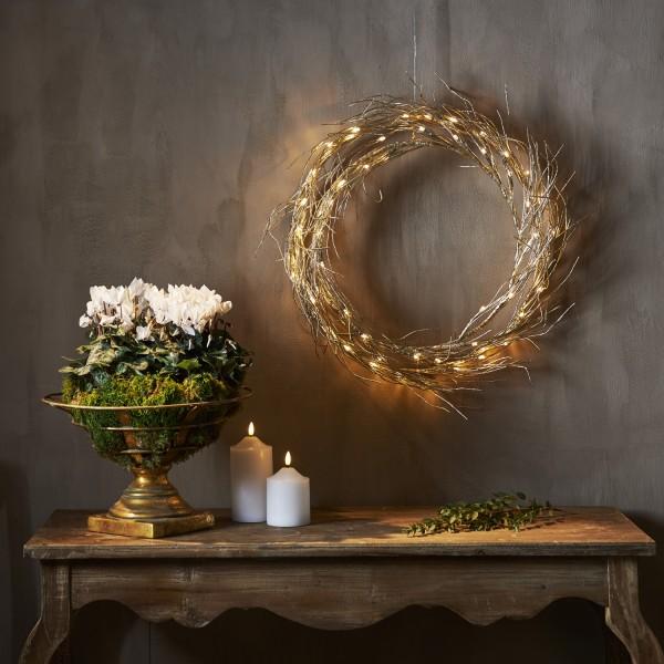 LED Lichtkranz Fizzy - 50 warmweiße LED - D: 45cm - Indoor - gold