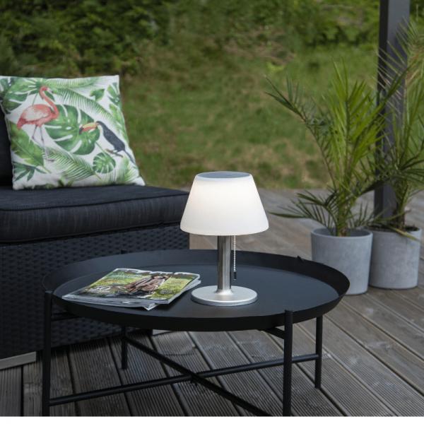 Tischleuchte mit Solarpanel und Batterie - D: 20cm x H: 28cm - warmweiss