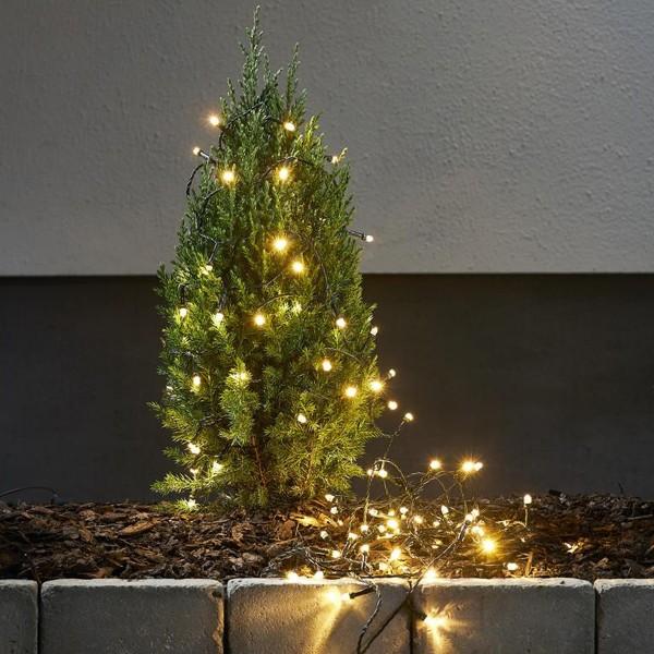 """LED Lichterkette """"Star Light"""" - 100 warmweiße LED -  L: 10,0m -  outdoor - grünes Kabel"""