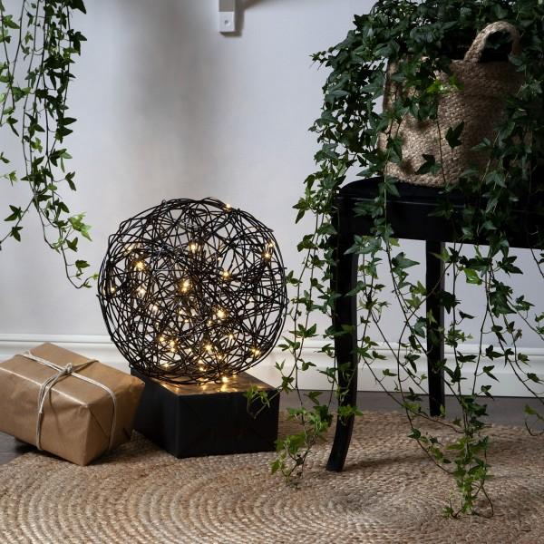"""LED 3D Designkugel """"Trassel"""" - D: 30cm - 50 warmweiße LED - Indoor & Outdoor - schwarz"""