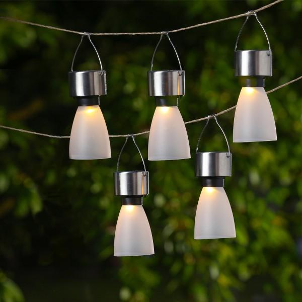 LED Solar Hängeleuchten - gefrostete Optik - warmweiße LED - H: 11cm - Dämmerungssensor - 5er Set