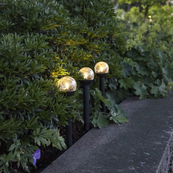 """LED Solarkugel/Gartenspieß """"Roma"""" - H: 23cm - warmweiße LED - Dämmerungssensor - 3er Set"""