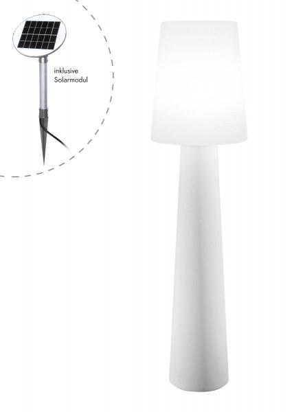 """Outdoor XL Stehlampe No. 1 """"Weiß"""" H:160cm - Solar LED warmweiß - Außenleuchte IP44"""