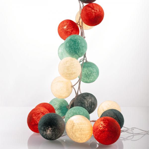 good moods* SOMMER SORBET - Ball-Lichterkette mit 35 Stoffkugeln - 35 warmweiße LEDs -Geschenkkarton
