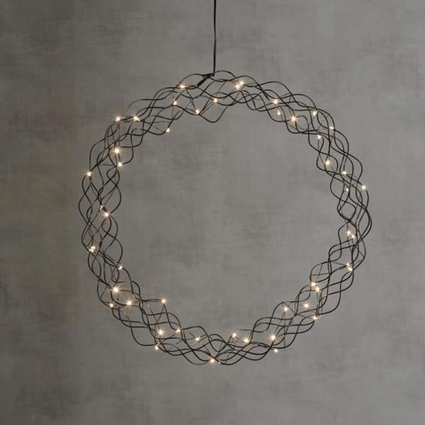 "LED-Kranz ""Curly"" - 50 warmweiße LED - D: 48cm - Material: Metall - schwarz"