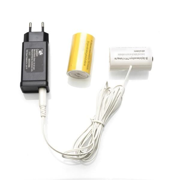 Netzadapter für Batterieartikel (2xD) - Batterie Eliminator - Ersetzt 2 Monozellen - Innen