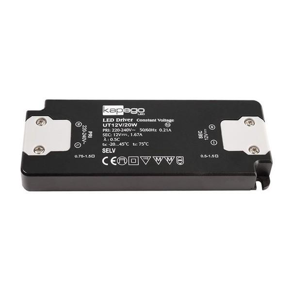 Kapego Netzgerät flach - 12V 20W 1,67A - schwarz - kurzschluss- überlastfest - 154x50x14mm
