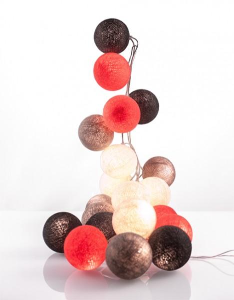 good moods* FARBTUPFER - Ball-Lichterkette mit 35 Stoffkugeln - 35 warmweiße LEDs - Geschenkkarton