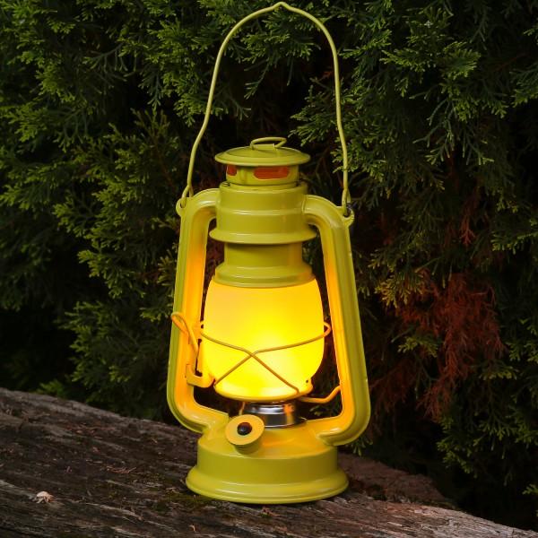 LED Sturmlaterne mit Flammeneffekt - Tragegriff - Batteriebetrieb - H: 24cm - gelb