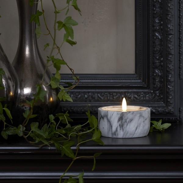 """LED Kerze """"Flamme"""" - Marmoroptik - Echtwachs - natürlich aussehende Flamme - Timer - H: 7,5cm D:10cm"""
