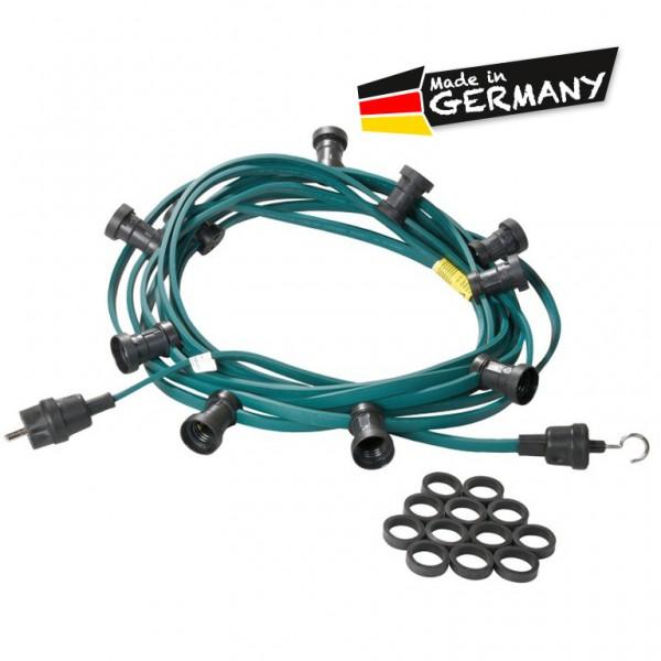 Illu-/Partylichterkette | E27-Fassungen | Made in Germany | ohne Leuchtmittel | 10m | 20x E27-Fassung