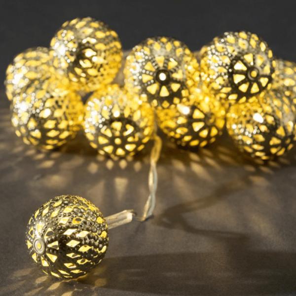 LED Dekolichterkette goldfarbene Metallbälle - L: 90cm - 10 warmweiße LED - D: 2,5cm - Batteriebetrieb