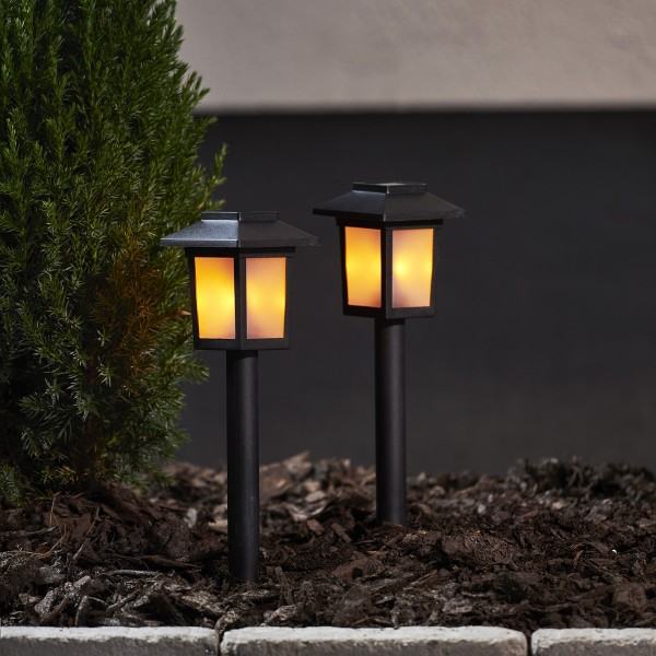 LED Solar Wegleuchte FLAME - gelbe LED mit bewegtem Feuereffekt - inkl. Akku - schwarz - 2er Set
