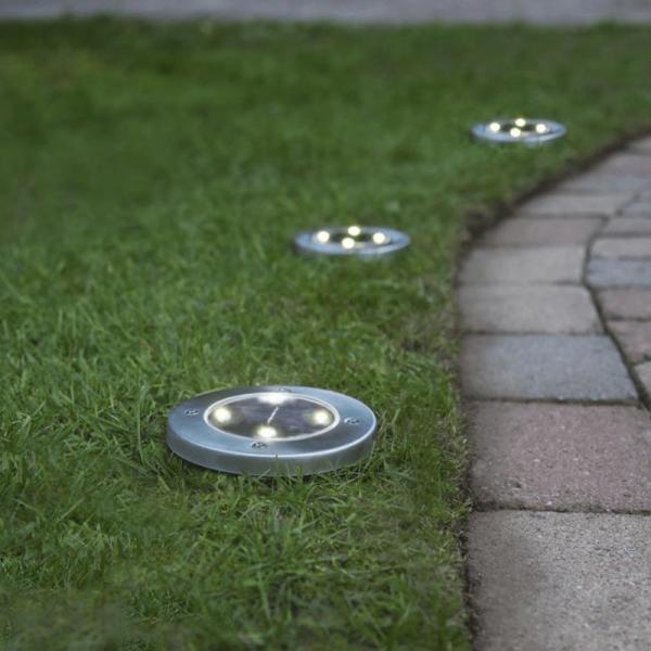 LED-Solar-Wegleuchten - 3er Set - Edelstahl - warmweiße LEDs - D: 11,5cm - Dämmerungssensor - 5lm01