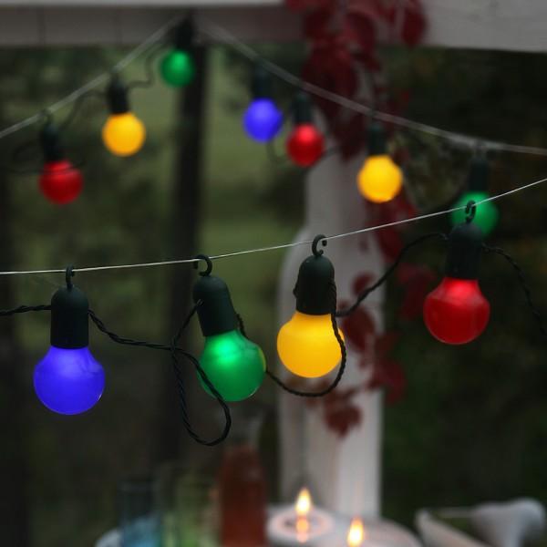 LED Partylichterkette - 20 bunte Kugeln - L: 5,7m - grünes Kabel - outdoor