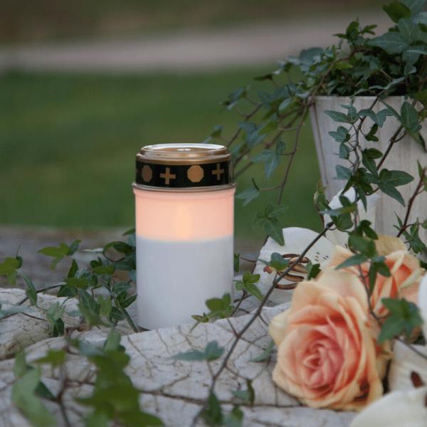 LED Grablicht - Grabkerze - gelbe LED - H: 12cm - Timer - outdoor - weiß mit Deckel