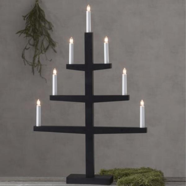 """Kerzenleuchter """"Tripp"""" - 7 Arme - warmweiße Glühlampen - H: 77cm, L: 49cm  - Schalter - Schwarz"""
