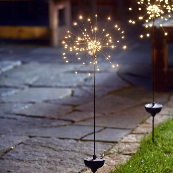 "LED Solarstab ""Firework"" Gartendeko - 90 warmweiße LED - H: 100cm - Dämmerungssensor"