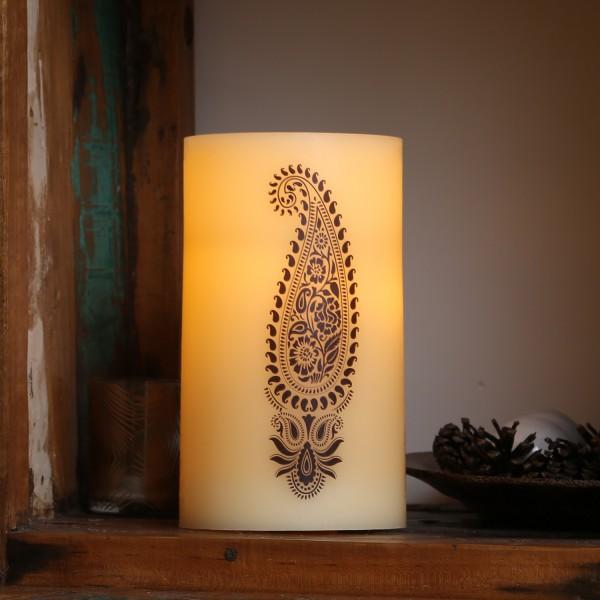 XXL LED Kerze Ornament - Echtwachs - flackernde LED - Timer - H: 20m - D: 12cm - creme